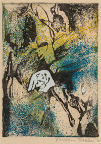 Dickson Reeder (American, 1912-1970) Masks, 1960 Etching and aquatint in colors on paper laid on board 7 x 5 inches (