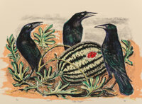 Otis Dozier (American, 1904-1987) Crows and Watermelon, 1987 Lithograph in colors on paper 21-1/4 x 28-1/2 inches (54