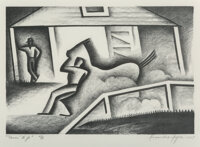 Alexandre Hogue (American, 1898-1994) Raring to Go, 1935 Lithograph on paper 9-1/2 x 13-7/8 inches (24.1 x 35.2 cm) (