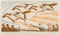 Alexandre Hogue (American, 1898-1994) On the Back Stretch, 1935 Lithograph in colors on paper 9-1/2 x 18 inches (24.1