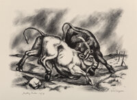 Otis Dozier (American, 1904-1987) Fighting Bulls, 1937 Lithograph on paper 10 x 14 inches (25.4 x 35.6 cm) (image) E