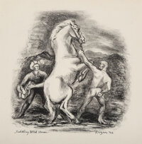 Otis Dozier (American, 1904-1987) Saddling Wild Horse, 1942 Lithograph on paper 10-1/2 x 10-1/4 inches (26.7 x 26.0 c