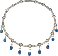Antique Sapphire, Diamond, Silver-Topped Gold Necklace