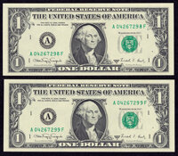 Fr. 1917-A $1 1988A Web Federal Reserve Notes. Two Examples. Crisp Uncirculated or Better, block A-F, run 1, plate combo...