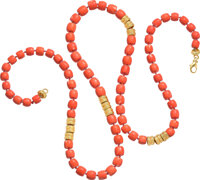Henry Dunay Coral, Gold Necklace