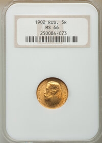 Russia: Nicholas II gold 5 Roubles 1902-AP MS66 NGC
