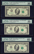 Small Size:Federal Reserve Notes, Fr. 2029-B*; C*; H* $10 1990 Federal Reserve Star Notes. PMG Graded Choice Very Fine 35; About Uncirculated 55; Gem Uncirculat... (Total: 3 notes)