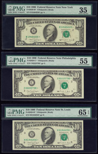 Fr. 2029-B*; C*; H* $10 1990 Federal Reserve Star Notes. PMG Graded Choice Very Fine 35; About Uncirculated 55; Gem Unci...