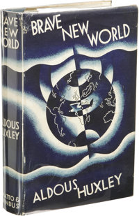 Aldous Huxley: Brave New World. (London: Chatto & Windus, 1932), first edition, 306 pages, light blue cloth with gil...