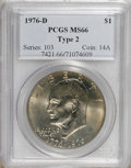 Eisenhower Dollars: , 1976-D $1 Type Two MS66 PCGS. PCGS Population (664/22). NGC Census: (198/9). Mintage: 82,179,568. Numismedia Wsl. Price: $7...