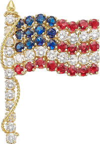 Formerly the property of Elizabeth Taylor  An 18K gold, ruby sapphire and diamond brooch by Van Cleef & A