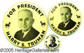 Political:Pinback Buttons (1896-present), (3) SIZES OF THIS POPULAR TRUMAN CAMPAIGN BUTTON. Three sizes of...
