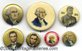 "Political:Ferrotypes / Photo Badges (pre-1896), LINCOLN AND GW PINBACKS. Six (6)  EX 7/8"" - 1 3/4"" Lin..."