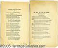 Political:Small Paper (pre-1896), PAIR OF 1876 ELECTION SONG SHEETS. Unusual pair of 1876 election...