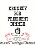 Political:Miscellaneous Political, MENU FROM 1960 INDIANAPOLIS JFK CAMPAIGN DINNER. Very nice menu ...