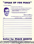 "Political:Small Paper (1896-present), HENRY WALLACE 8 1/2 X 11"" PETITION. Interesting Henry Wallace 8 ..."