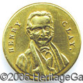 Political:Ferrotypes / Photo Badges (pre-1896), EXCEEDINGLY RARE AND UNUSUAL 1844 HENRY CLAY BRASS SHANK BUTTON....