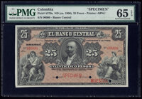 Colombia Banco Central 25 Pesos ND (ca. 1900) Pick S370s Specimen PMG Gem Uncirculated 65 EPQ
