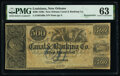 Obsoletes By State:Louisiana, New Orleans, LA- New Orleans Canal and Banking Company $500 18__ G66a Remainder PMG Choice Uncirculated 63.