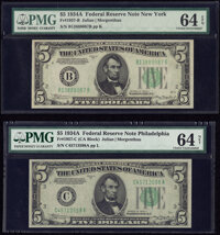 Fr. 1957-B; C $5 1934A Federal Reserve Notes. PMG Graded Choice Uncirculated 64 EPQ; Choice Uncirculated 64 Net. ... (To...