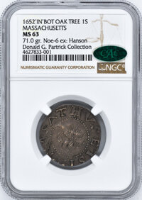 1652 Colonials NGC MS63 CAC Oak Tree Shilling, IN at Bottom,...(PCGS# 45362)