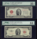 Small Size:Legal Tender Notes, Fr. 1506 $2 1928E Legal Tender Note. PMG About Uncirculated 55 EPQ;. Fr. 1510* $2 1953A Legal Tender Star Note. ...