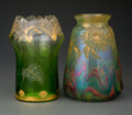 Glass, Two Harrach Wheel-Carved and Partial Gilt Glass Vases