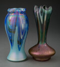 Glass, Two Austrian Iridescent Glass Vases, early 20th ce...