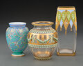 Glass, Three Bohemian Enameled and Partial Gilt Glass Vases