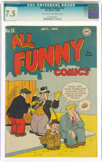 All Funny Comics #12 (DC, 1946) CGC VF- 7.5 Light tan to off-white pages