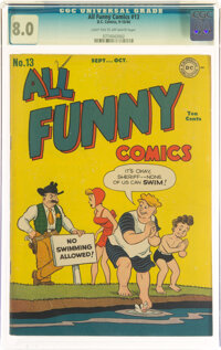 All Funny Comics #13 (DC, 1946) CGC VF 8.0 Light tan to off-white pages