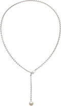 Estate Jewelry:Necklaces, An 18k white gold and cultured pearl necklace, Cartier, circa 2001. Elegant but simple design of beveled circu