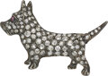 """Estate Jewelry:Brooches - Pins, A playful antique """"Scottie"""" dog brooch, circa 1900. Smart and craving attention, this cute Scottie needs someon"""