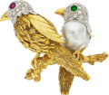 Estate Jewelry:Brooches - Pins, Diamond, Multi-Stone, Freshwater Cultured Pearl, Gold Broo...