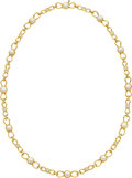 Estate Jewelry:Necklaces, Tiffany & Co. Diamond, Cultured Pearl, Gold Necklace