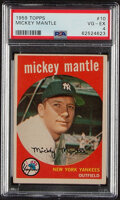 Baseball Cards:Singles (1950-1959), 1959 Topps Mickey Mantle #10 PSA VG-EX 4. Our offe...