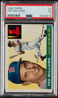 Baseball Cards:Singles (1950-1959), 1955 Topps Ted Williams #2 PSA VG 3. Offered is th...