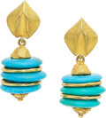 Estate Jewelry:Earrings, Turquoise, Gold Earrings Stones: Carved turqu...