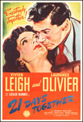 """Movie Posters:Drama, 21 Days Together (Columbia, 1940). Very Fine on Linen. Poster (40"""" X 60""""). Drama.. ..."""