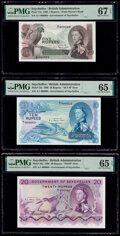 World Currency, Matching Serial 69 Set Seychelles Government of Seychelles 5; 10; 20; 50; 100 Rupees 1.1.1968 Pick 14a; 15a; 16a; 17a...