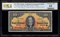 Canada Montreal, PQ- Banque Provinciale du Canada $10 1.9.1936 Ch.# 615-18-06 PCGS Banknote Uncirculated 62