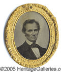 Photography:Ambrotypes, 1860 LINCOLN CAMPAIGN AMBROTYPE. Rare and important large 1860 L...