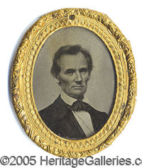 1860 LINCOLN CAMPAIGN AMBROTYPE. Rare and important large 1860 Lincoln campaign ambrotype, by George Clark of Boston.&am...