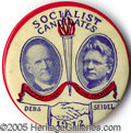 """Political:Pinback Buttons (1896-present), EXTREMELY RARE 1 1/2"""" DEBS-SEIDEL JUGATE. Extremely rare 1 1/..."""