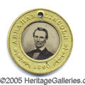 Political:Ferrotypes / Photo Badges (pre-1896), SUPERB 1860 LINCOLN/HAMLIN FERRO. Superb virtually pristine 1860...