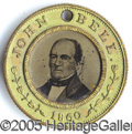 Political:Ferrotypes / Photo Badges (pre-1896), 1860 BELL/EVERETT FERRO. 1860 Bell/Everett ferro. Basicall...