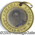 Political:Ferrotypes / Photo Badges (pre-1896), 1860 LINCOLN/HAMLIN FERRO. 1860 Lincoln/Hamlin ferro.  Linc...