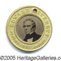 Political:Ferrotypes / Photo Badges (pre-1896), 1860 BELL-EVERETT. Superb, essentially pristine 18...