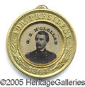 "Political:Ferrotypes / Photo Badges (pre-1896), 1864-DATED MCCLELLAN/PENDLETON FERRO. Choice, ""minty"" 1864-dated..."
