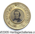 Political:Ferrotypes / Photo Badges (pre-1896), 1860 DOUGLAS/JOHNSON FERRO. Very Choice 1860 Douglas/John...